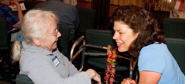 A resident visits Glacier Hills retirement home