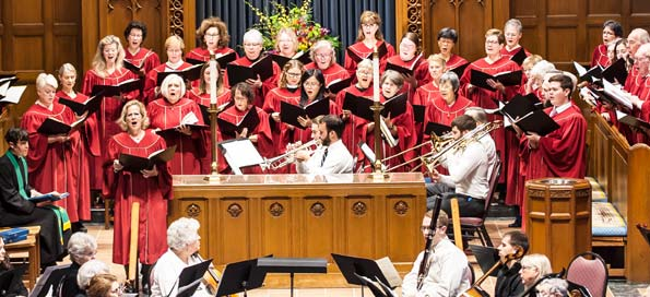 Choir and orchestra at a Sunday service